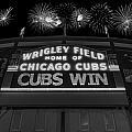 Chicago Cubs Win Fireworks Night B W by Steve Gadomski