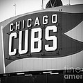 Chicago Cubs Wrigley Field Sign Black And White Picture by Paul Velgos