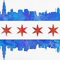 Chicago Flag Watercolor by Mike Maher