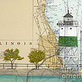 Chicago Harbor Se Guidewall Lighthouse Il Nautical Chart Art by Cathy Peek
