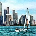 Chicago Il - Sailboat Against Chicago Skyline by Susan Savad