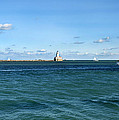 Chicago Illinois Harbor Lighthouse And Little Lady Tour Boat Usa by Sally Rockefeller