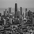 Chicago Looking East 01 Black And White by Thomas Woolworth