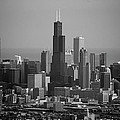 Chicago Looking East 02 Black And White by Thomas Woolworth