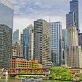 Chicago Loop Downtown Skyline From Chicago River   by Linda Matlow