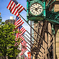 Chicago Macy's Clock And Chicago Theatre Sign by Paul Velgos