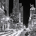 Chicago Michigan Avenue Light Streak Black And White by Christopher Arndt