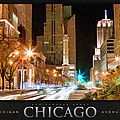 Chicago Michigan Avenue Light Streak Poster by Christopher Arndt