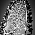 Chicago Navy Pier Ferris Wheel In Black And White by Paul Velgos