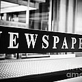 Chicago Newspapers Stand Sign In Black And White by Paul Velgos