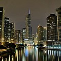 Chicago Night River View by Frozen in Time Fine Art Photography