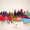 Chicago Painted City Skyline by World Art Prints And Designs