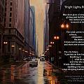 Chicago Rain Bright Lights Big City by Anita Burgermeister