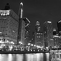 Chicago River At Night Black And White by Cityscape Photography