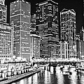 Chicago River Skyline At Night Black And White Picture by Paul Velgos