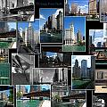 Chicago River Walk Collage by Thomas Woolworth