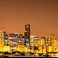 Chicago Skyine At Night Panoramic Photo by Paul Velgos