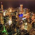 Chicago Skyline At Night - Hancock And Trump by Michael  Bennett
