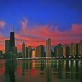 Chicago Skyline At Night by Ben Lavitt