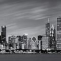 Chicago Skyline At Night Black And White Panoramic by Adam Romanowicz