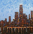 Chicago Skyline At Night From North Avenue Pier by J Loren Reedy