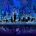 Chicago Skyline Blue Version by Bekim M