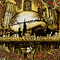 Chicago Skyline Drawing Collage 3 by Bekim M