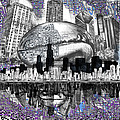 Chicago Skyline Drawing Collage by Bekim M