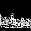 Chicago Skyline Fractal Black And White by Adam Romanowicz