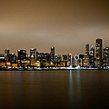 Chicago Skyline In Fog With Reflection by Anthony Doudt