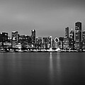 Chicago Skyline In Fog With Reflection - Black And White by Anthony Doudt