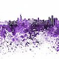 Chicago Skyline In Purple Watercolor On White Background by Pablo Romero
