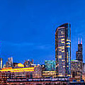 Chicago Skyline Photography - Blue Hour Cityscape by Michael  Bennett