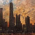 Chicago Skyline Silhouette by Tom Shropshire