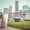 Chicago Skyline With Pritzker Pavilion Vintage Picture by Paul Velgos