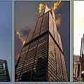 Chicago Tall Shoulders Trump Sears 333 Wacker Triptych 3 Panel 03 by Thomas Woolworth