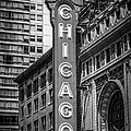 Chicago Theater Sign in Black and White by Paul Velgos