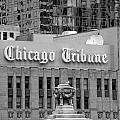 Chicago Tribune Facade Signage Bw by Thomas Woolworth
