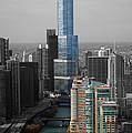 Chicago Trump Tower Blue Selective Coloring by Thomas Woolworth