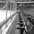 Chicago United Center Before The Gates Open Blackhawk Seat One Bw by Thomas Woolworth