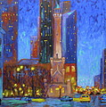 Chicago Water Tower At Night by J Loren Reedy