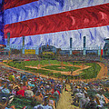 Chicago White Sox Us Cellular Field Flag Digitally Painted  by David Haskett II