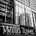 Chicago Willis Tower Sign In Black And White by Paul Velgos