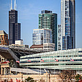 Chicago With Soldier Field And Sears Tower by Paul Velgos