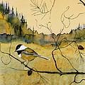 Chickadee In Dancing Pine by Carolyn Doe