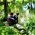 Children And Ducks In Park by Susan Savad