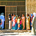 Children And Tourists At Entry To Temple Of Hathor In Dendera-egypt Copy by Ruth Hager