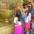 Children Bring Lotus Flowers To Royal Temple At Grand Palace Of Thailand by Ruth Hager