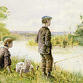 Children Fishing By A Stream by George Goodwin Kilburne