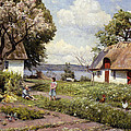Children In A Farmyard by Peder Monsted